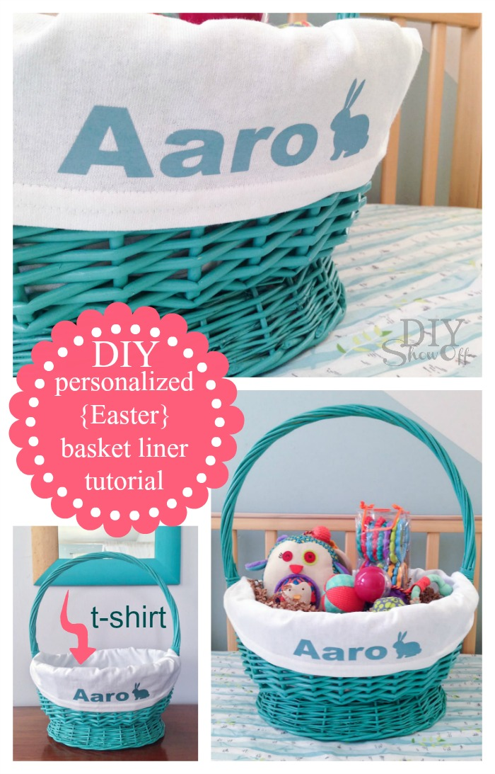DIY personalized Easter basket liner tutorial @diyshowoff