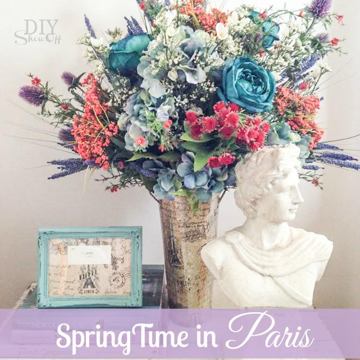 decoupage vase @diyshowoff #SpringTimeinParis #michaelsmakers