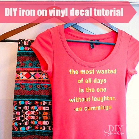 gold metallic iron on vinyl decal tutorial @diyshowoff #happycrafters