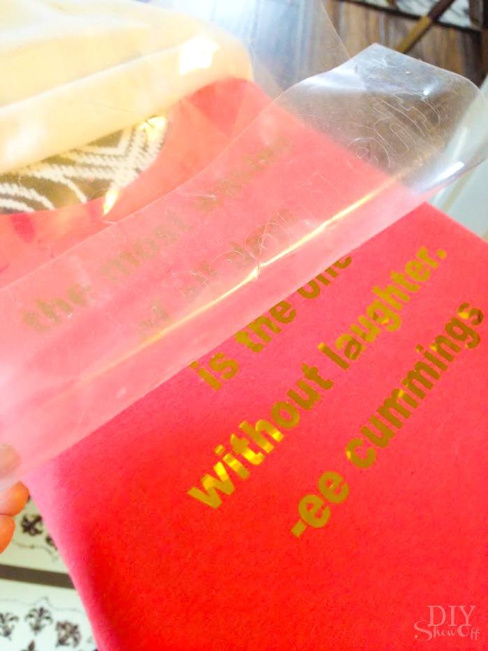 gold metallic iron on vinyl decal tutorial @diyshowoff #happycrafters
