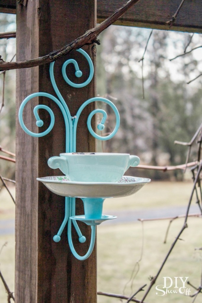 DIY tea cup candle sconce bird feeder tutorial @diyshowoff