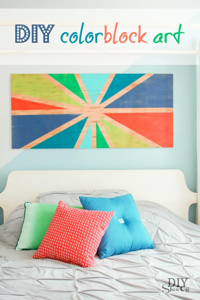 DIY color block sunburst wall art tutorial @diyshowoff