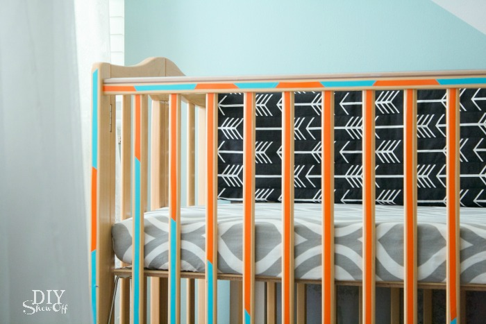 Jazz up your crib for under $10 with DIY adhesive vinyl decals. Tutorial @diyshowoff