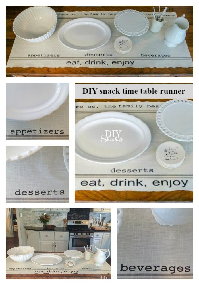 snack time table runner tutorial @diyshowoff