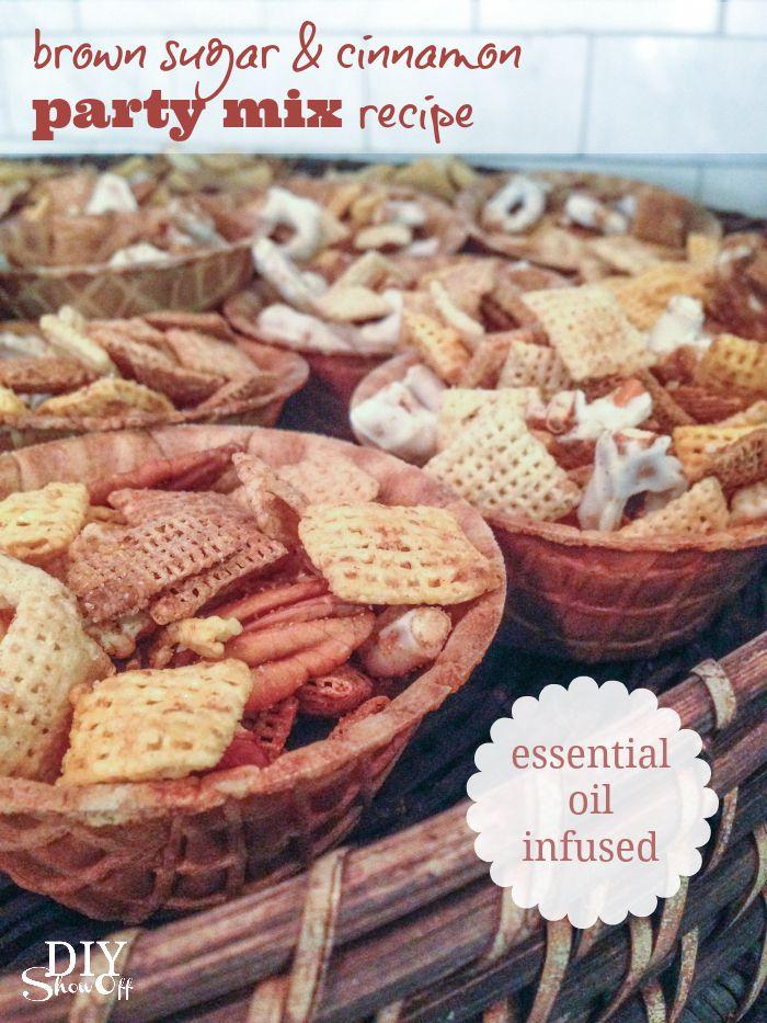 brown sugar and cinnamon fall party mix recipe @diyshowoff #essentialoils