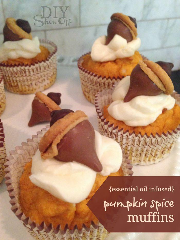 essential oil infused pumpkin spice muffins recipe @diyshowoff #essentialoils fall make & take ideas