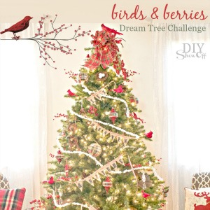 birds and berries Christmas tree #michaelsmakers @diyshowoff Dream Tree Challenge