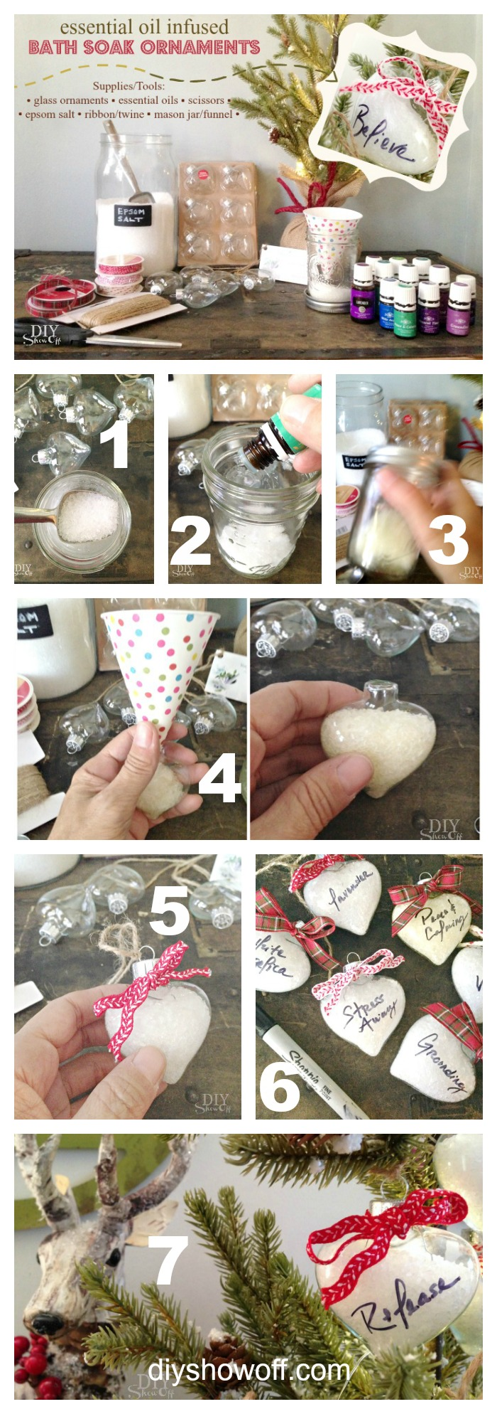 DIY essential oil infused bath soak Christmas ornament gift tutorial @diyshowoff