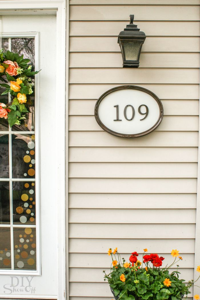 framed house number wall art