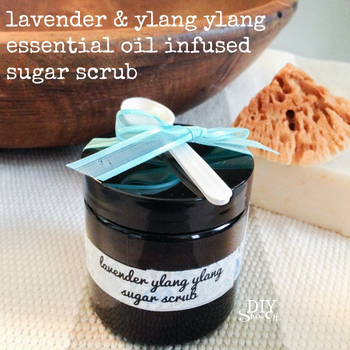 DIY skin nourishing lavender & ylang ylang essential oil infused sugar scrub for maintaining healthy skin @diyshowoff