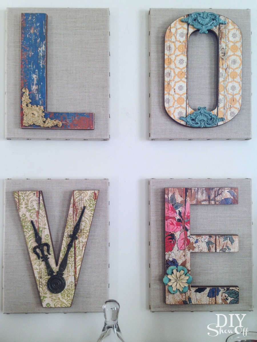 cute chippy rustic DIY LOVE letter wall art tutorial @diyshowoff