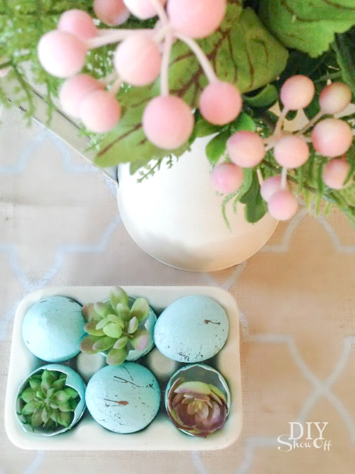 Freshen up your home with spring decor! DIY tutorial for spring succulents arrangement! #michaelsmaker