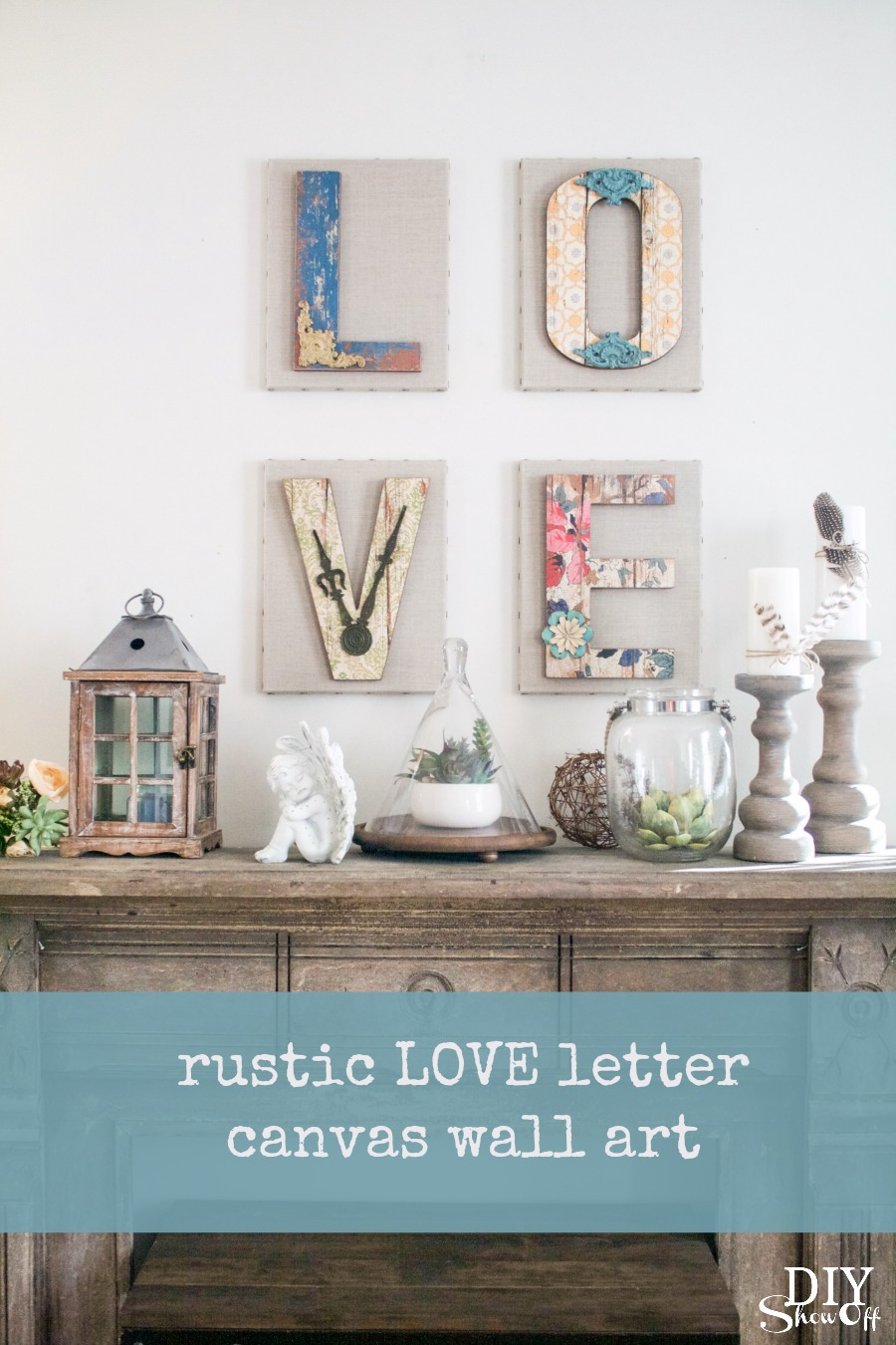 cute chippy rustic DIY LOVE letter wall