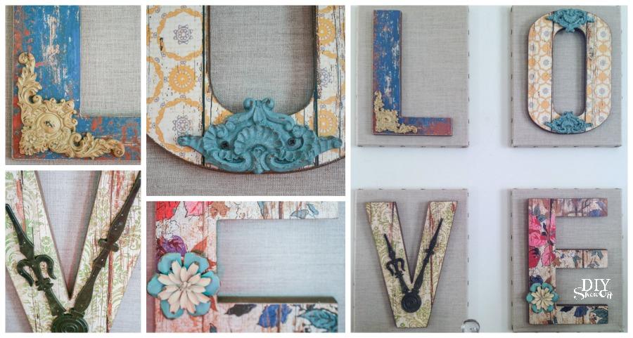 cute chippy rustic DIY LOVE letter wall art tutorial @diyshowoff
