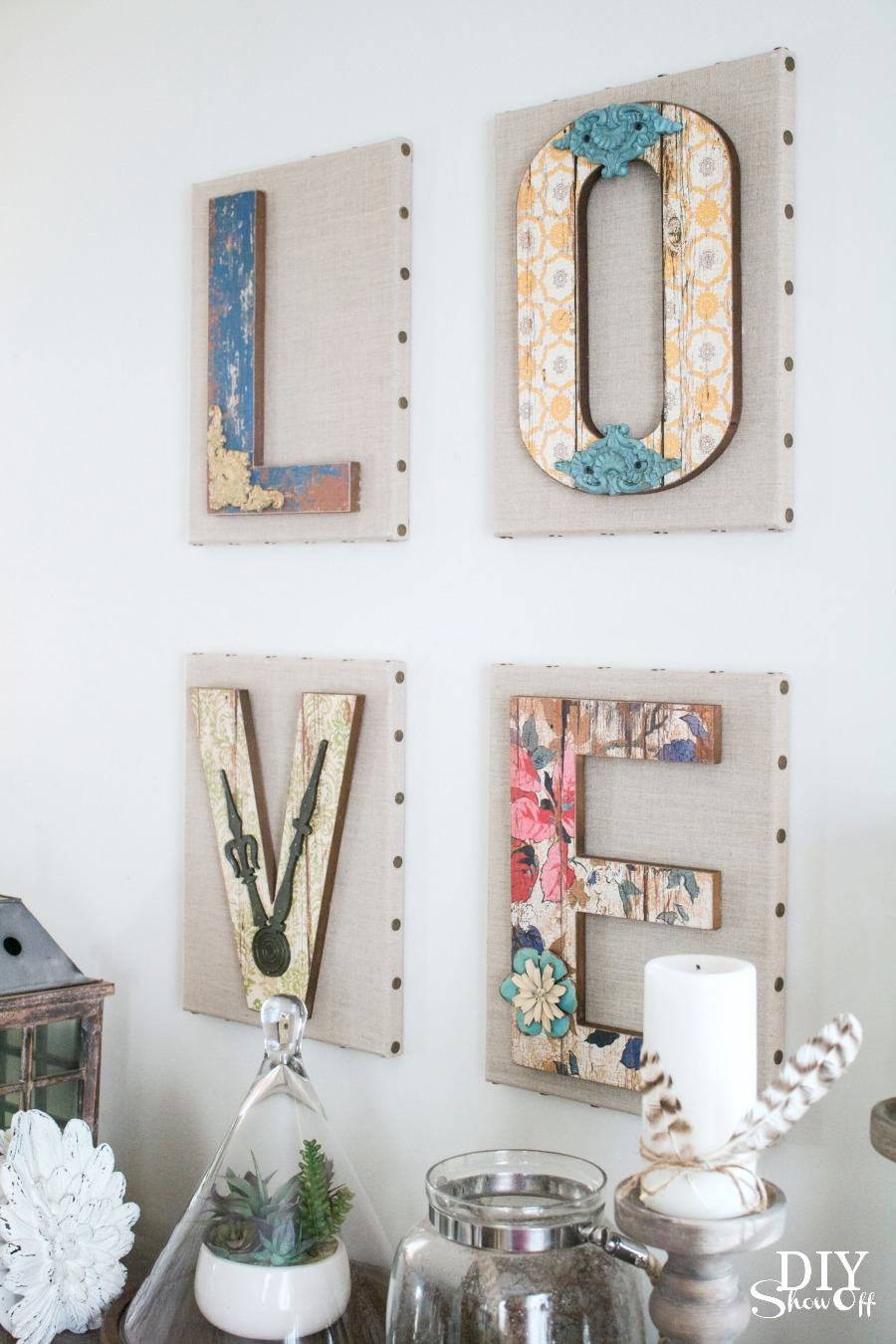 ... Cute Chippy Rustic DIY LOVE Letter Wall Art Tutorial @diyshowoff
