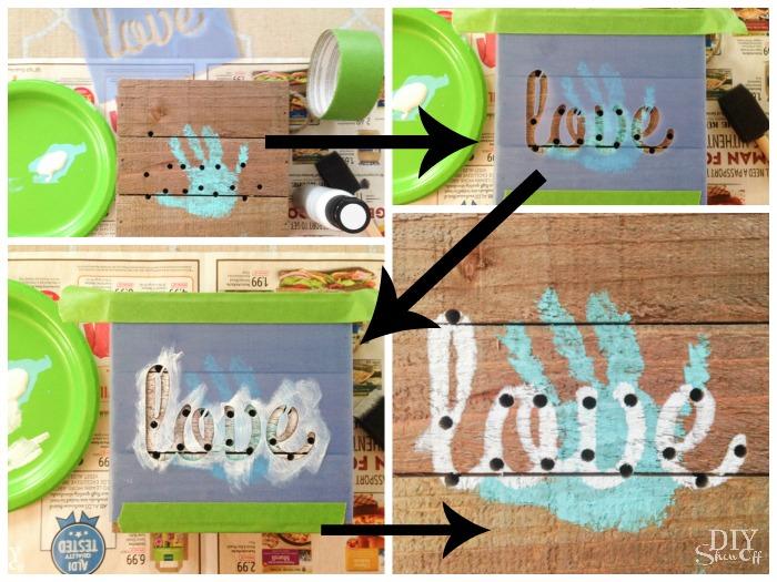 Awe! A cute DIY keepsake handprint Mother's Day gift (LED 'love' wood plaque) tutorial @diyshowoff #michaelsmakers