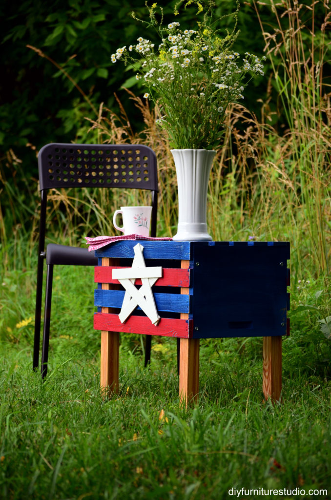 patriotic crate side table