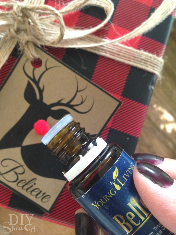 Believe essential oil holiday gift tag @diyshowoff