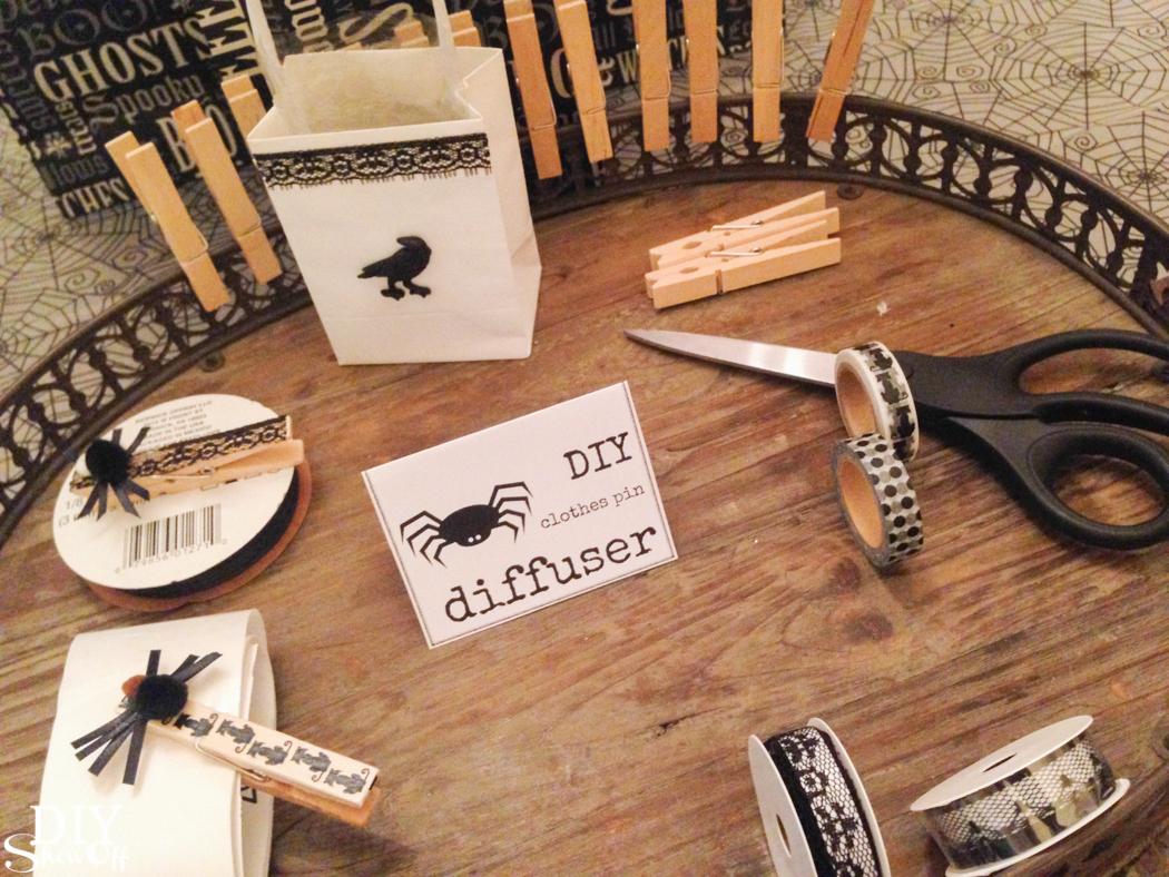 Halloween DIY car diffuser clothes pins @diyshowoff
