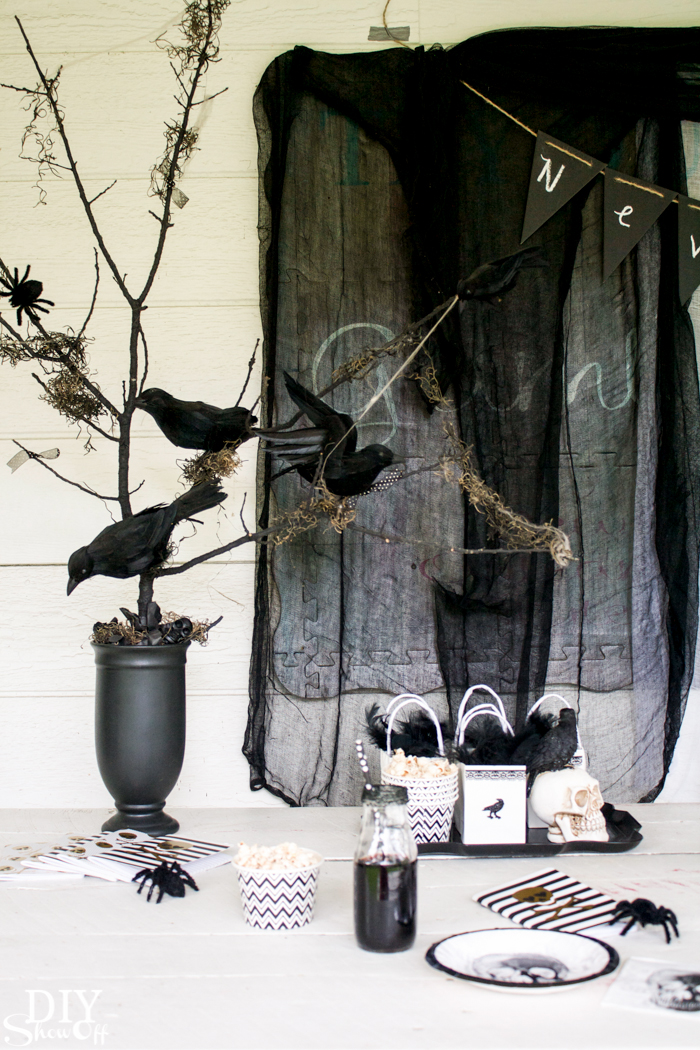 The Raven Nevermore Halloween Party Ideas @diyshowoff #MakeItWithMichaels