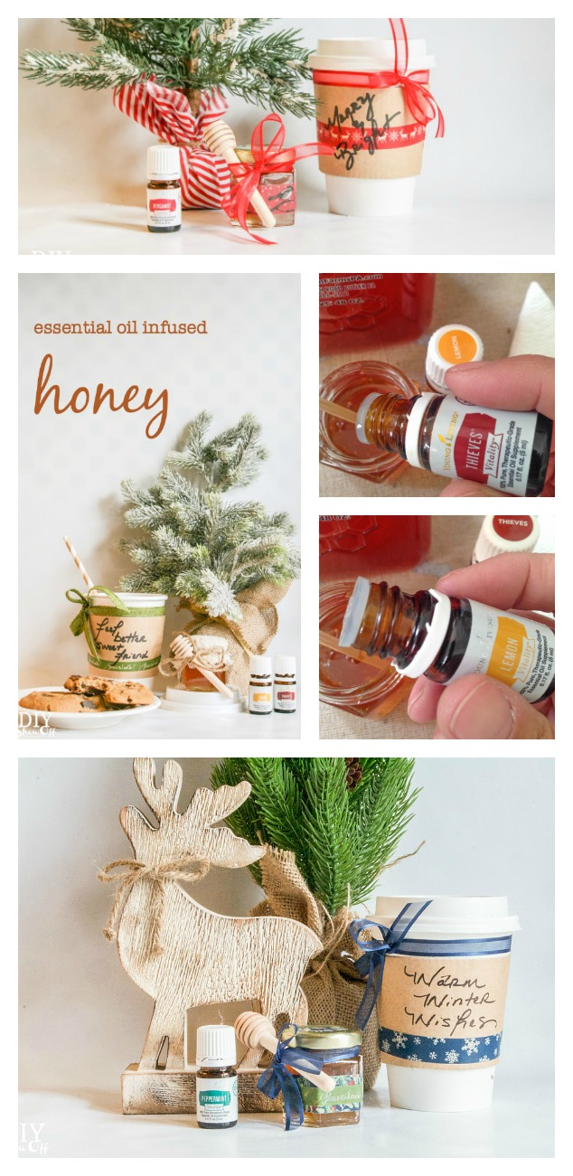 So sweet! Essential oil infused honey and Essential Oil Holiday Hostess Guide @diyshowoff