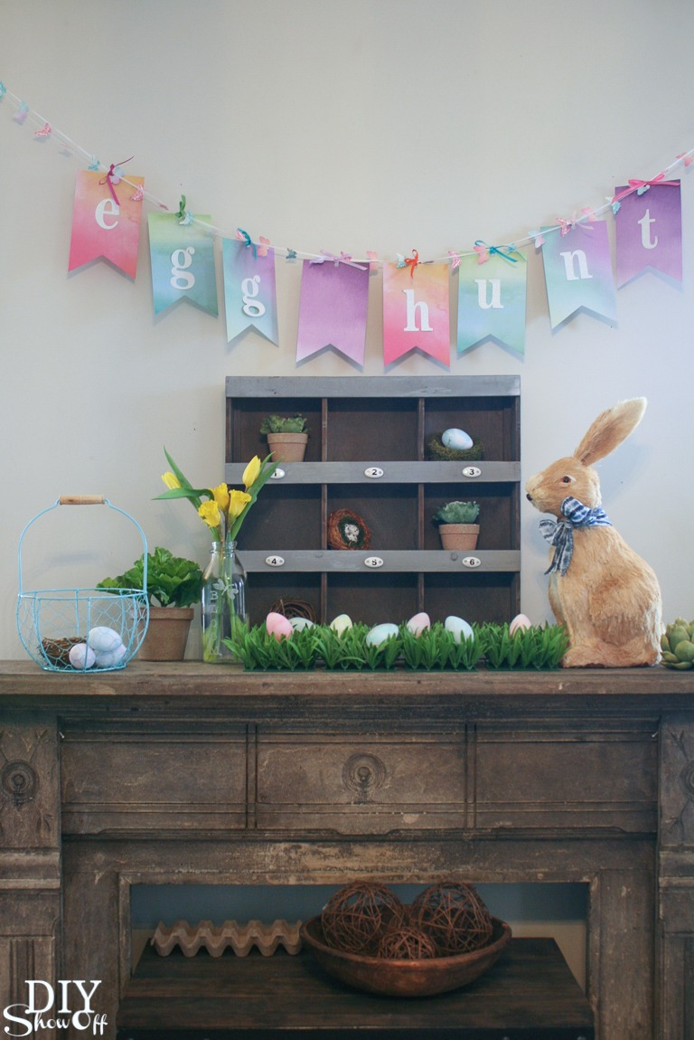 Spring Easter egg hunt mantel @diyshowoff #michaelsmakers #makeitwithmichaels #ad