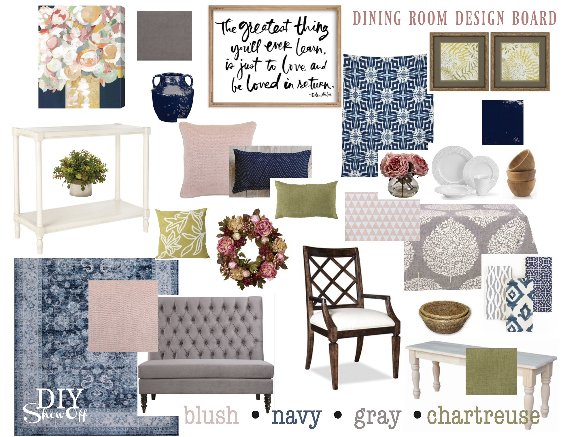Color Lovers series! @diyshowoff dining room design board: navy, blush, chartreuse and gray