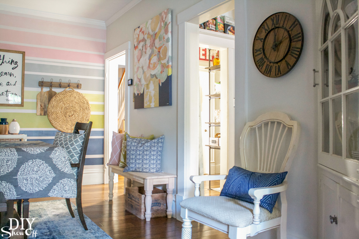 Color Lover's Room Makeover - dining room reveal @diyshowoff (navy, chartreuse, blush and gray for a soft but colorful fresh new look) #colorlovers #birchlanecolorlovers #TheMinecolorlovers #mintedcolorlovers