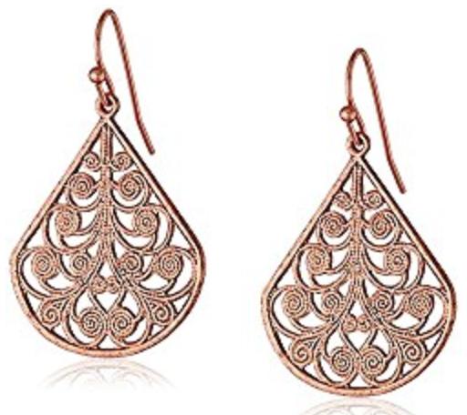 rose gold vine earrings