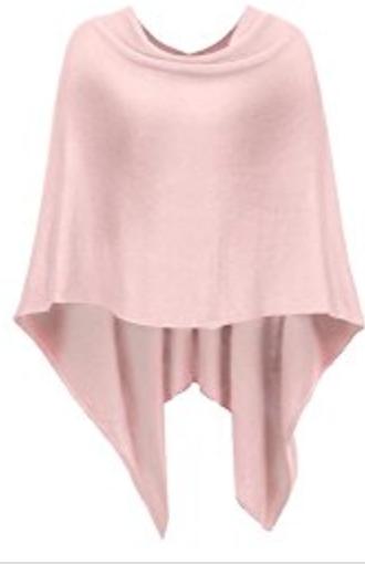 pink asymmetric knit poncho