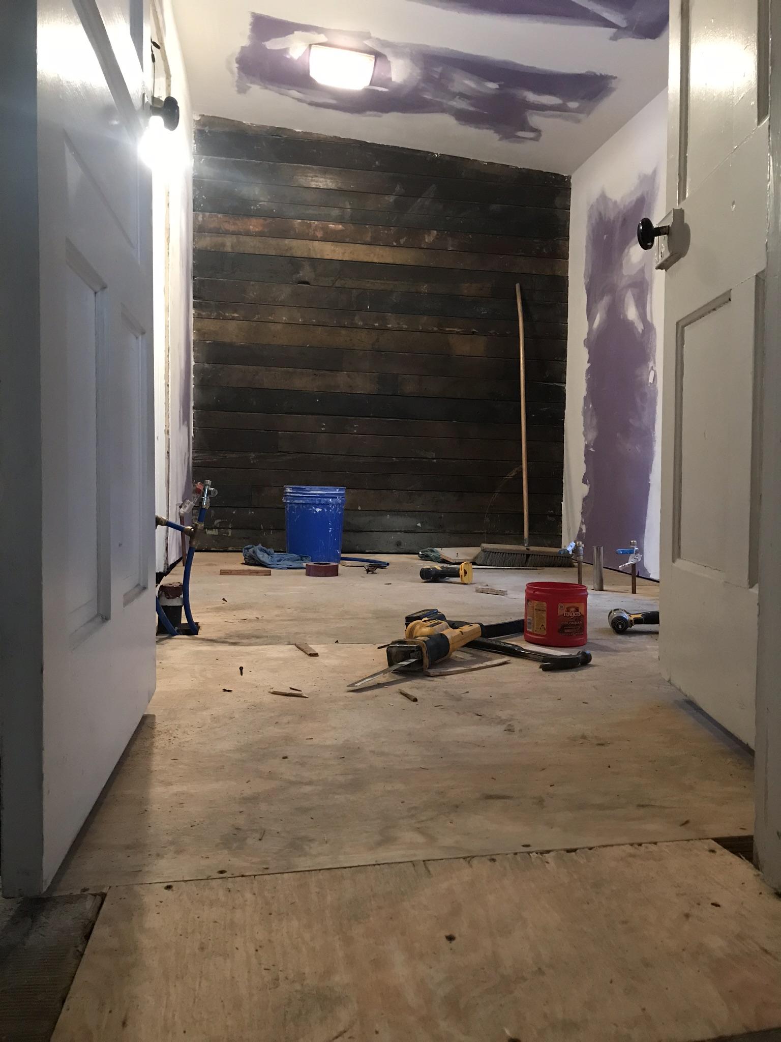 bathroom makeover in progress