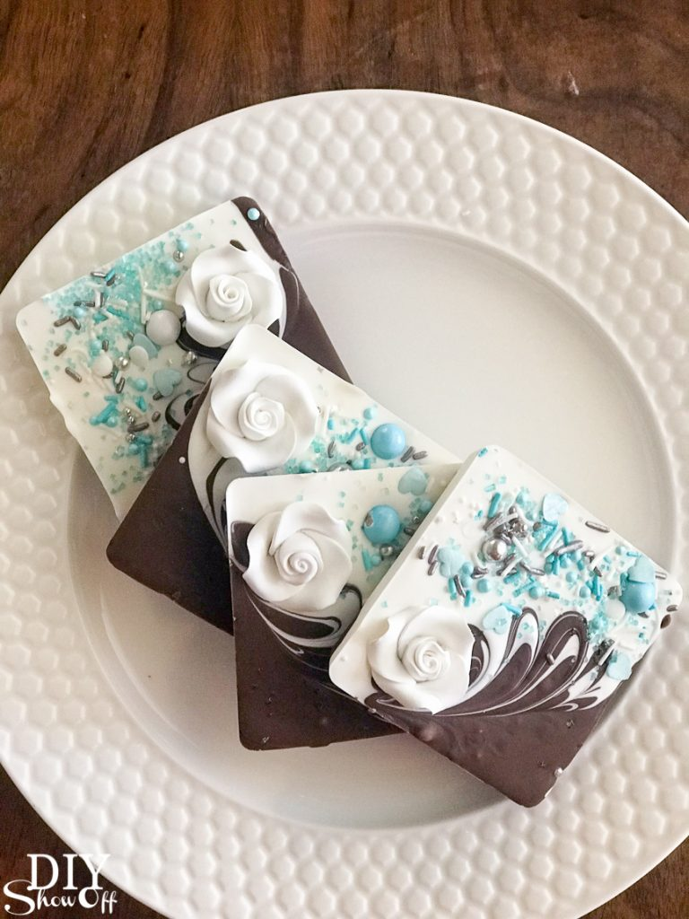 DIY chocolate candy melts bridal wedding shower party favor gifts tutorial @diyshowoff essential oil infused gift idea breakfast at tiffany's