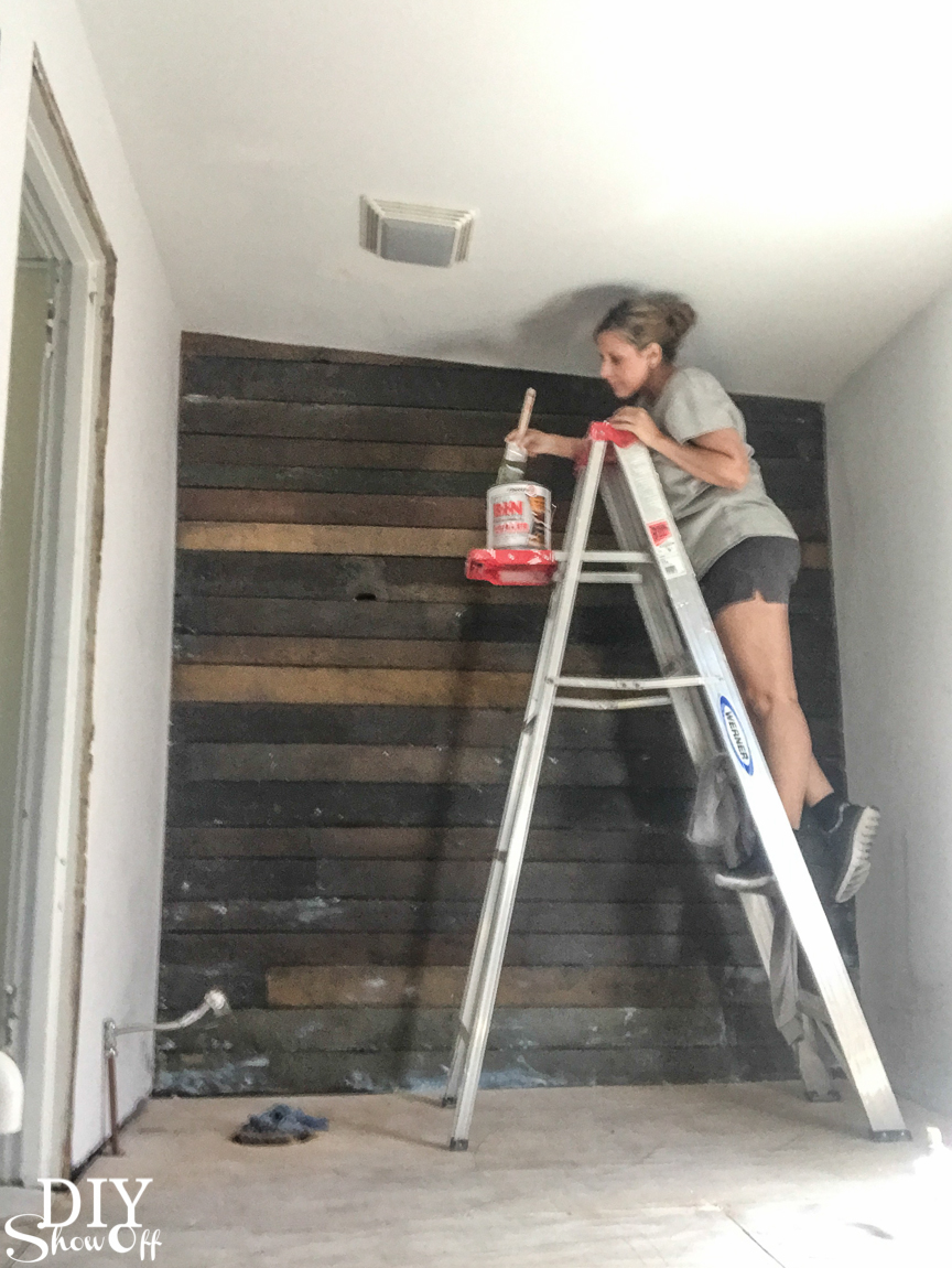 Sealing a wood plank shiplap wall with shellac #helloredreno @diyshowoff #ad