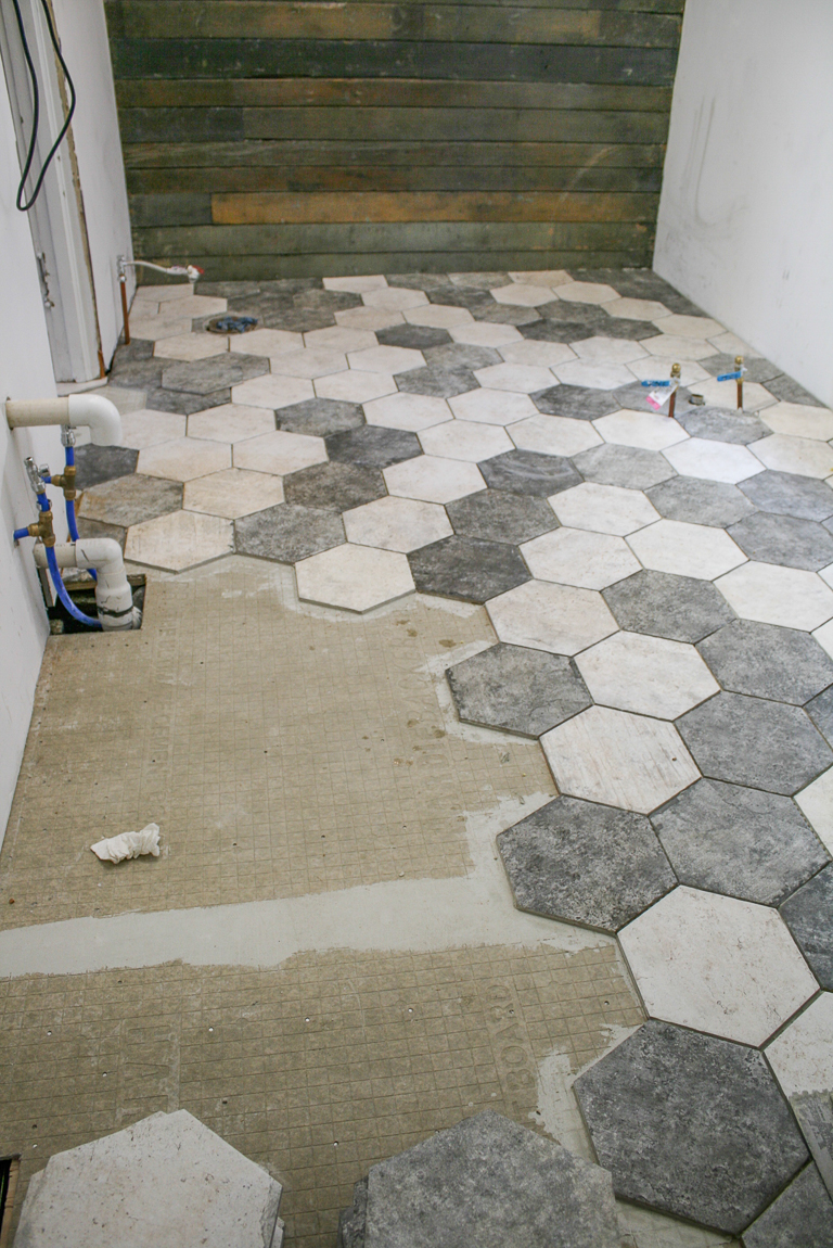 hexagon tile installation