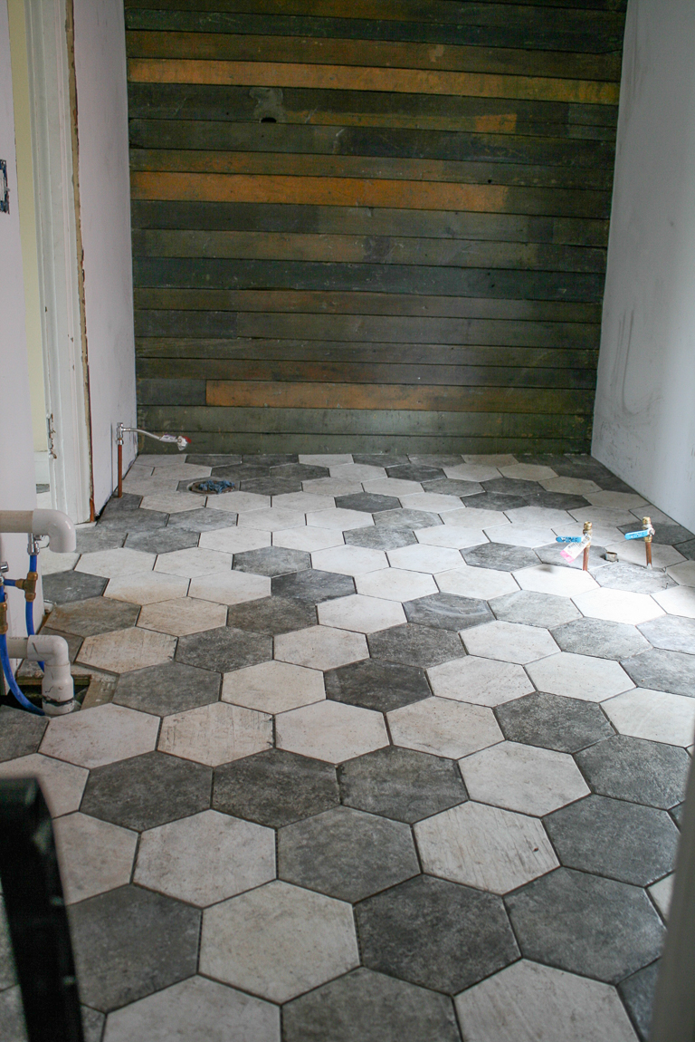 San Francisco hexagon tile floor wood plank wall