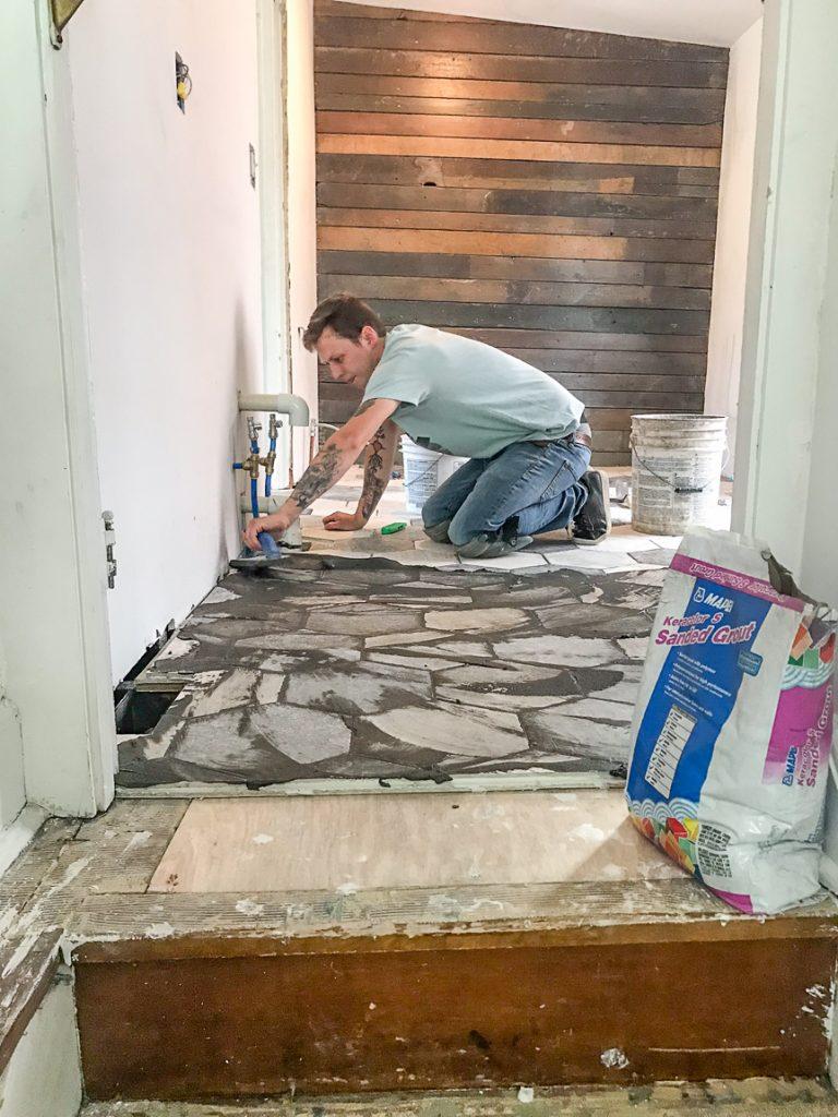 Bathroom Makeover - Shaw Floors hexagon porcelain tile SanFrancisco @diyshowoff #helloredreno