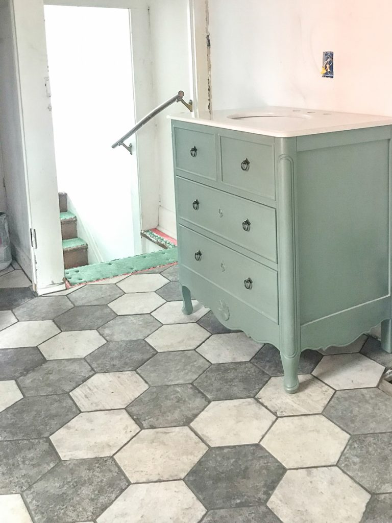 Bathroom Makeover - Shaw Floors hexagon porcelain tile SanFrancisco @diyshowoff #helloredreno