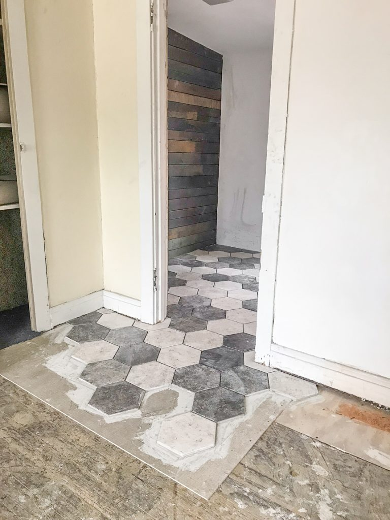 gray and white hexagon tile