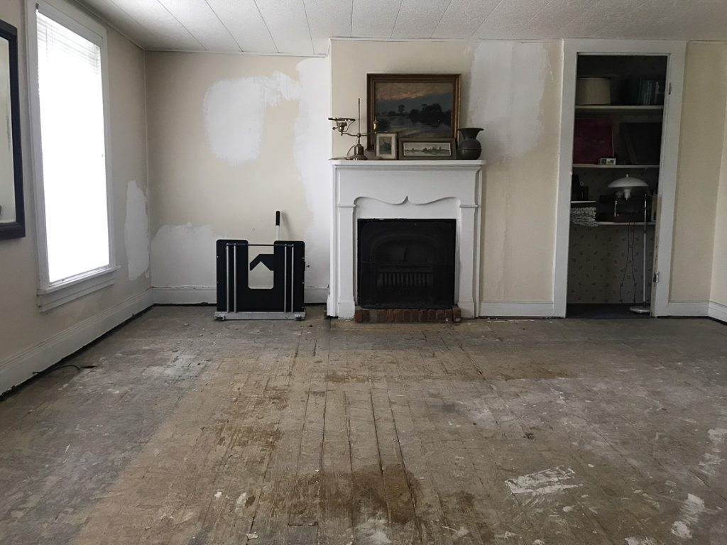 old floor with fireplace