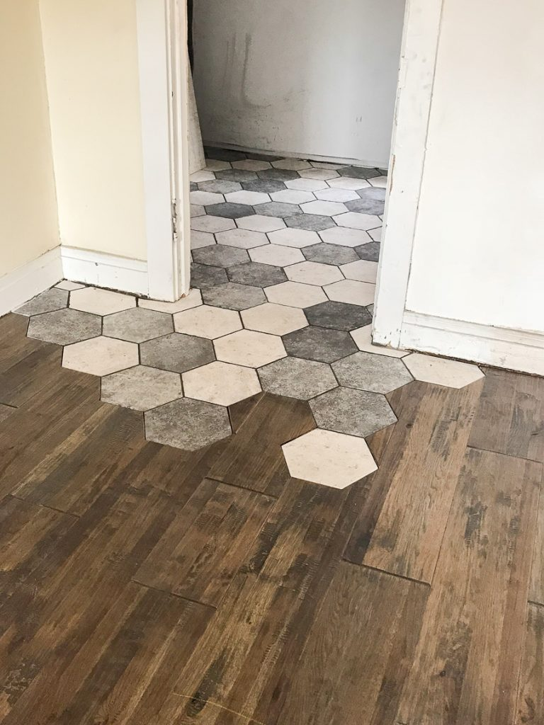 hexagon tile to hardwood transition
