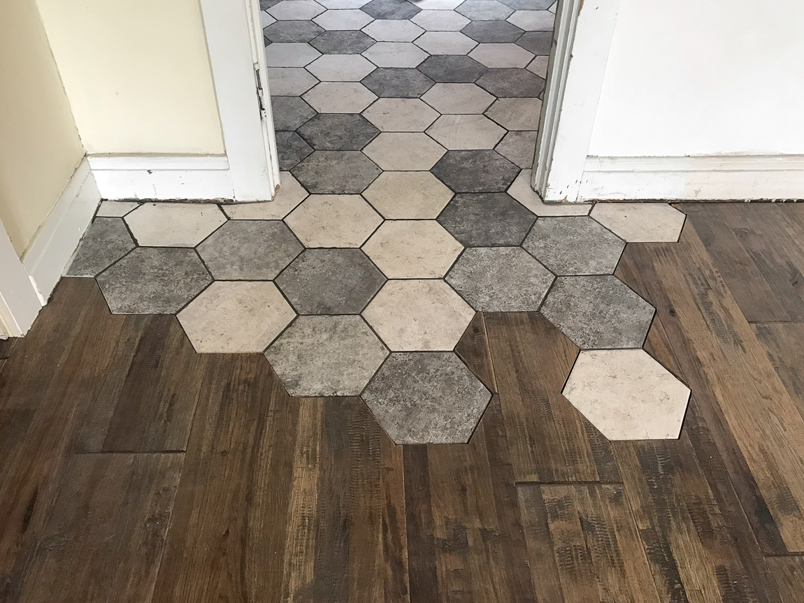 hexagon tiles meet hardwood