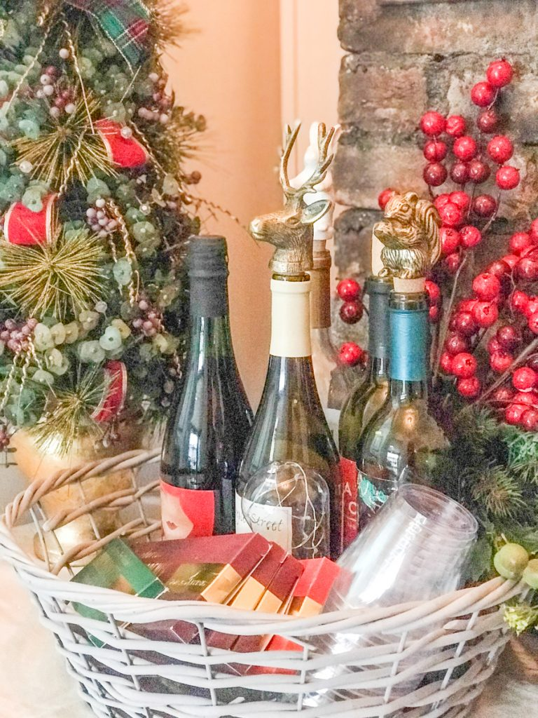 Christmas wine cart