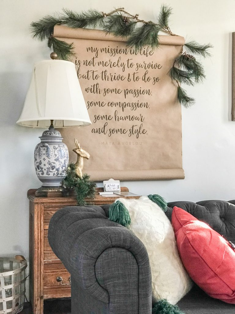living room Christmas vignette helloredreno
