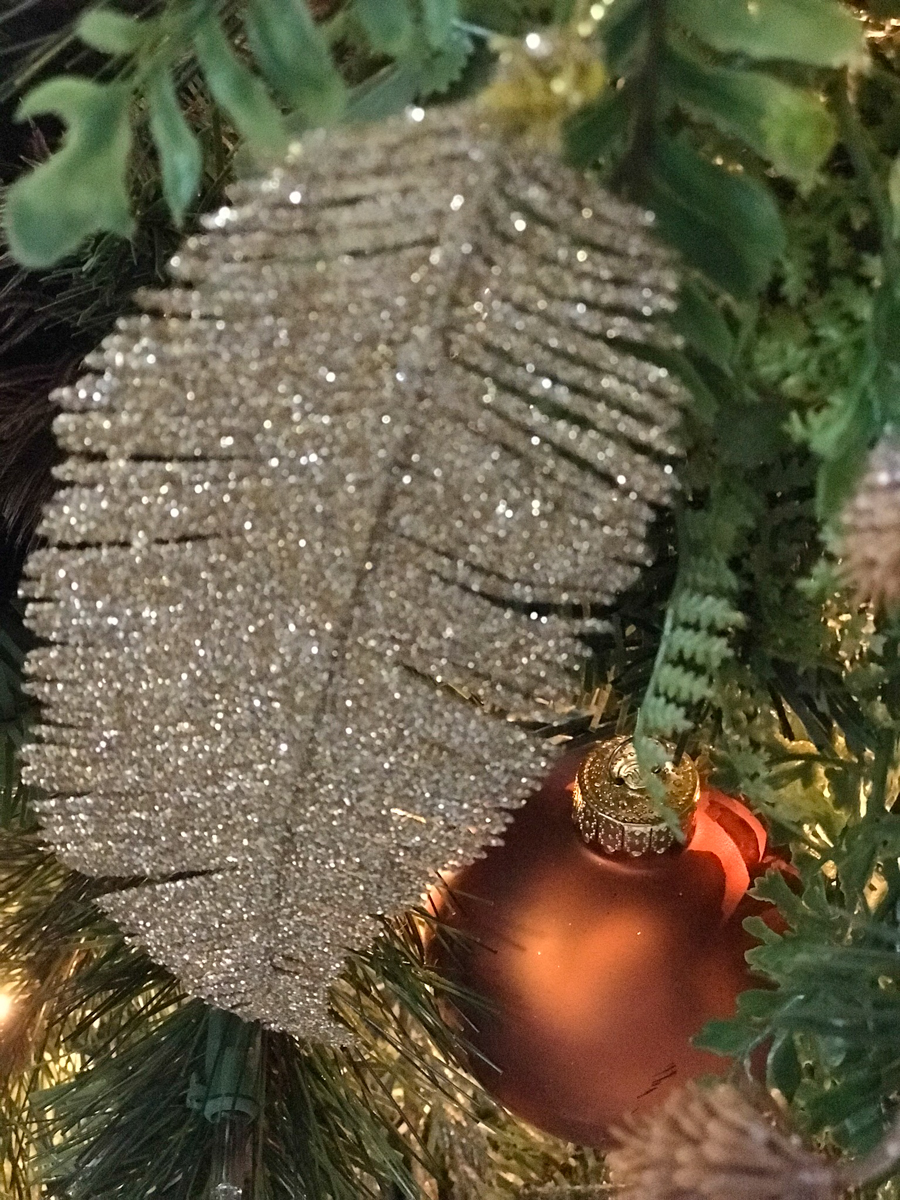 rustic christmas tree gold glitter feather
