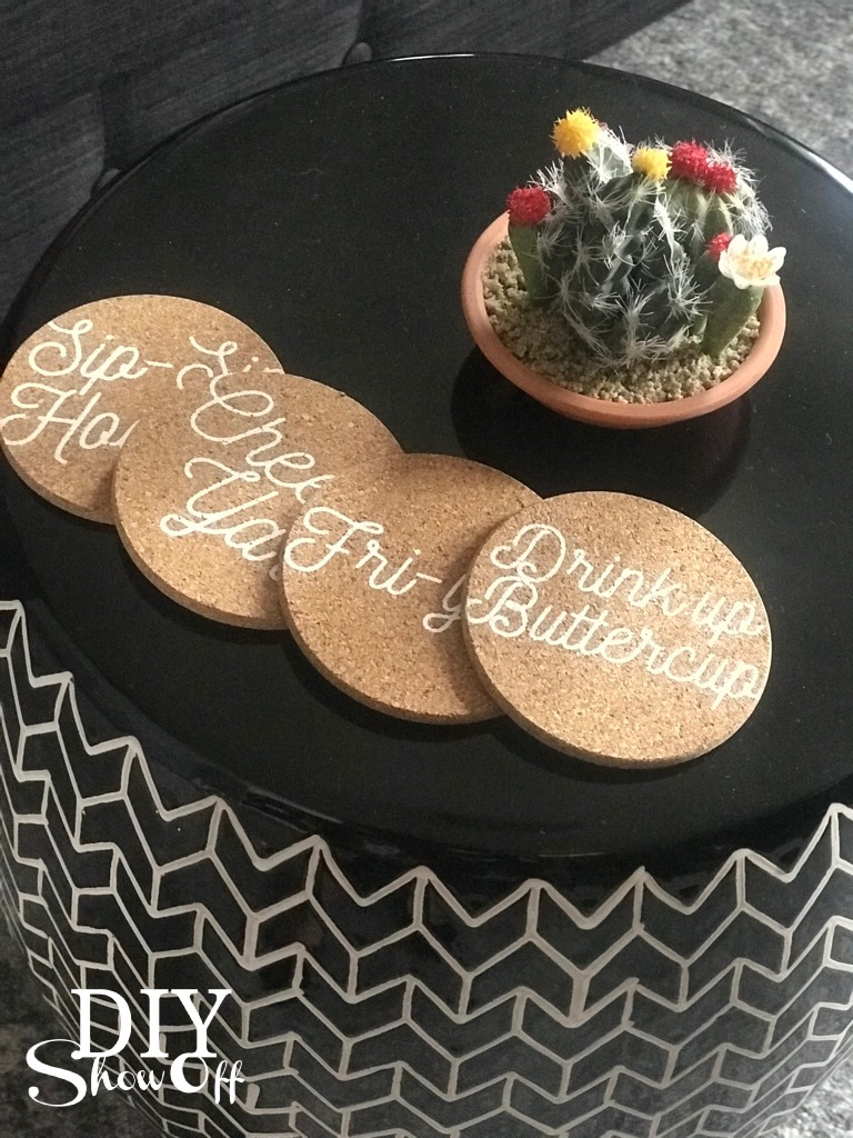 decocrated cork coasters
