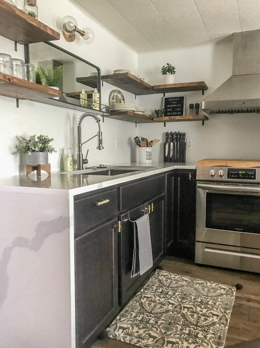 small modern airbnb apartment kitchen makeover