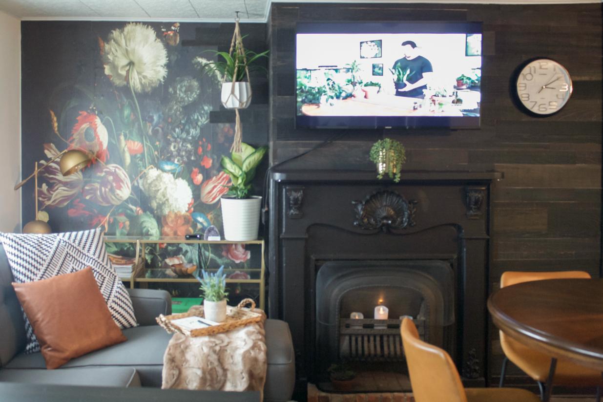 tv above fireplace black
