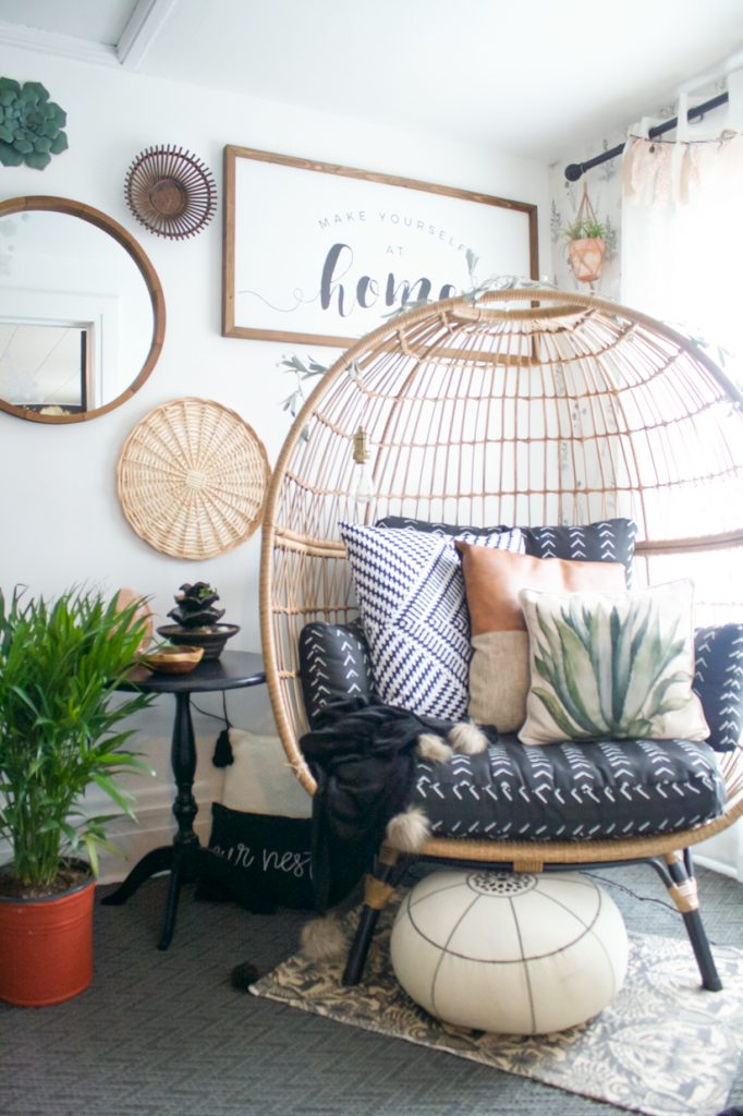 boho basket gallery wall egg chair