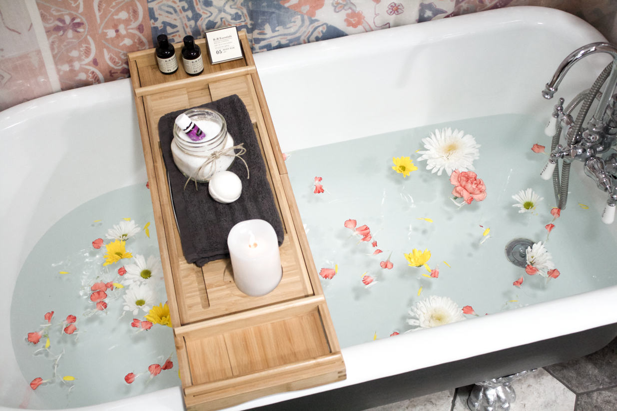 flower bath clawfoot tub