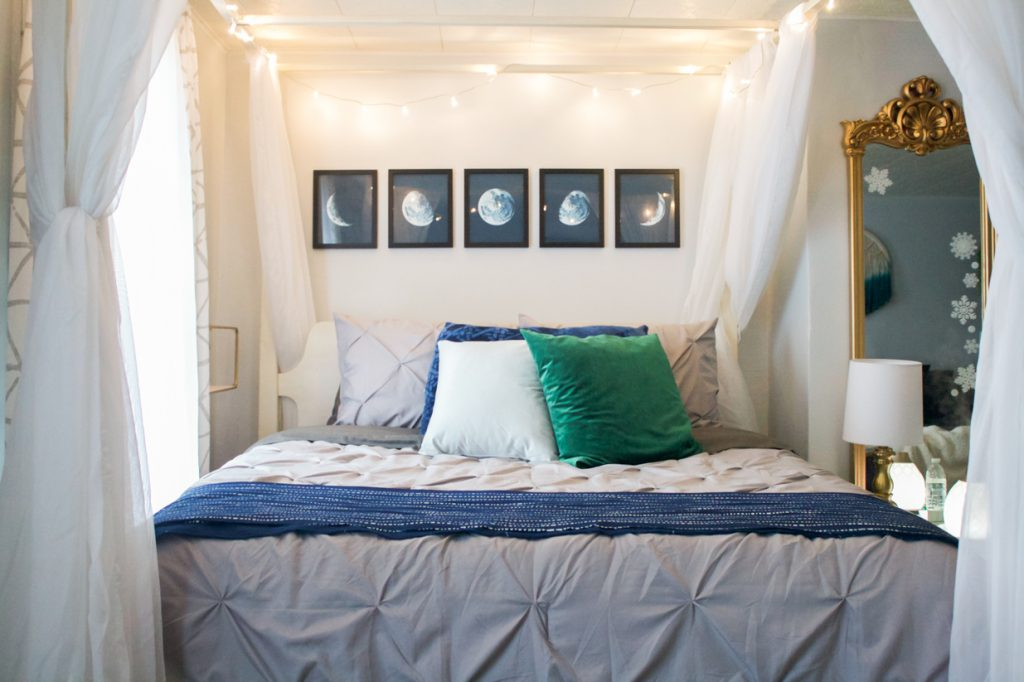 moon phases art above bed